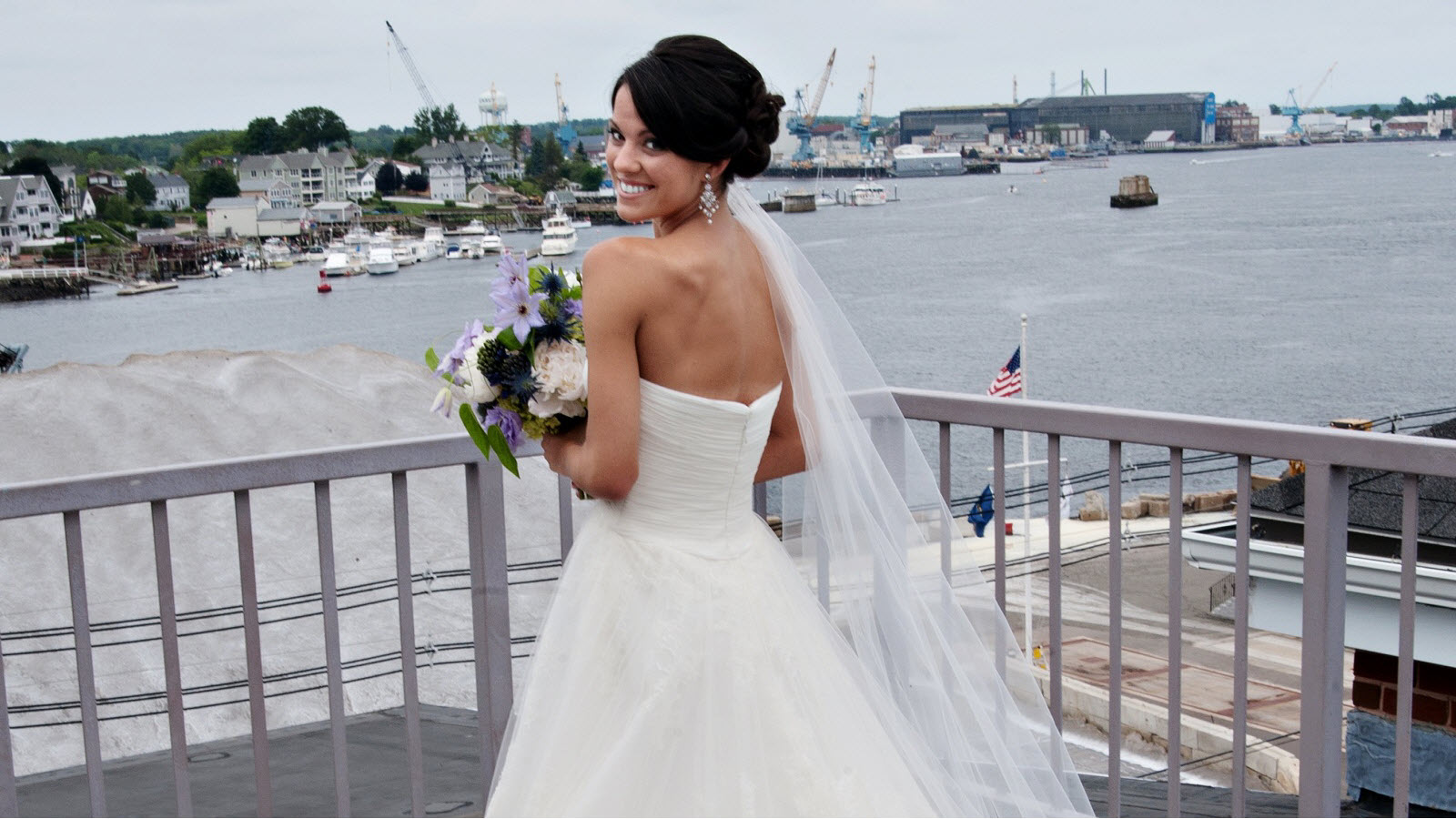 Portsmouth Wedding Venues | Bride on Balcony